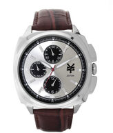 Zoo York Mens Brown And Silvertone Leather Strap Watch