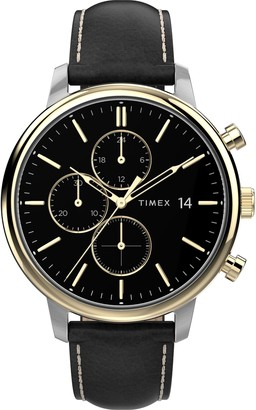 Timex Chicago Chronograph Leather Strap Watch, 45mm