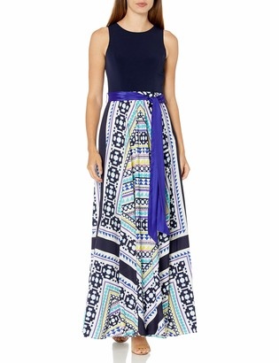 Eliza J Women's Scarf Print Combo Maxi Dress