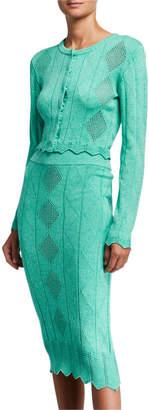 Victor Glemaud Diamond-Textured Cotton Button-Front Cardigan