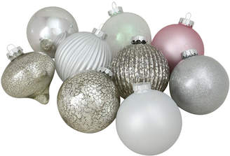 Northlight 9Ct Silver & Pink Multi-Finish Ball & Onion Shaped Christmas Ornaments