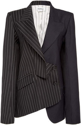 Monse Two Tone Pinstripe Wool-Blend Blazer Jacket