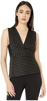 BCBGMAXAZRIA Striped Knit Top (Black Combo) Women's Blouse
