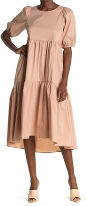 MelloDay Elbow Length Sleeve Mix Midi Dress