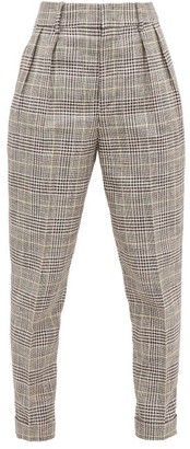 Isabel Marant Ceyo Checked Slim-fit Trousers - Womens - Grey