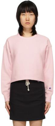 Champion Reverse Weave Pink Cropped Crewneck Sweatshirt