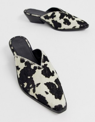 Asos DESIGN Mambo western leather mule in cow print