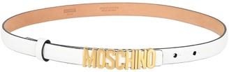 Moschino Slim Logo Pebbled-Leather Belt