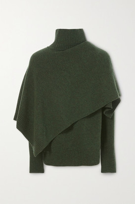 LVIR Draped Wool Turtleneck Sweater - Green