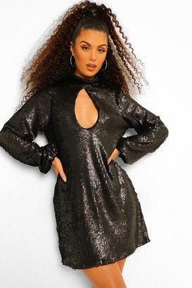 boohoo Sequin High Neck Cut Out Smock Dress