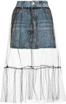 Petite tulle overlay denim skirt