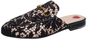 Gucci Black Lace Princetown Mules Size 36.5