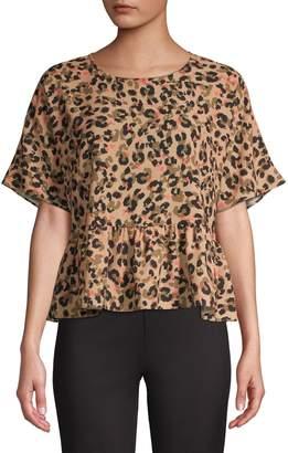 Sfw Short-Sleeve Leopard-Print Peplum Top