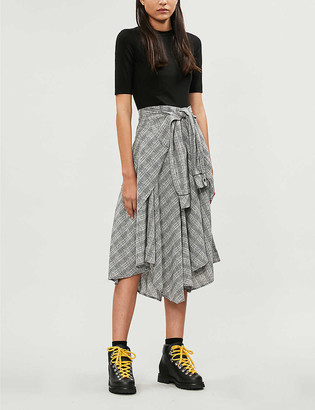 Maje Rapri checked-skirt stretch-jersey and crepe midi dress