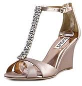 Badgley Mischka Romance Women Open Toe Canvas Wedge Heel.