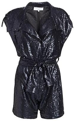 Carolina Ritzler Allover Sequin Shirt Romper