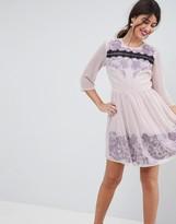 Asos Design PREMIUM Eyelash Lace Mini Dress with Embroidery