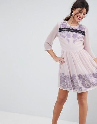 Asos Design PREMIUM Eyelash Lace Mini Dress with Embroidery-Purple