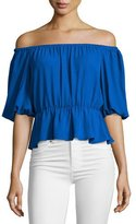 Amanda Uprichard Cora Off-the-Shoulder Top, Royal Blue