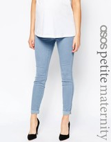 Asos PETITE Rivington Denim Jeggings in Candy Light Blue with Turn Ups With Under The Bump Waistband