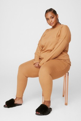 Nasty Gal Womens The Long and Leggings of It Plus Lounge Set - Beige - 16