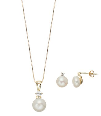 Sterling Silver Freshwater Cultured Pearl & Lab-Created White Sapphire Pendant & Stud Earring Set
