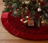 Pottery Barn Shiny Velvet Quilted Tree Skirt - Red