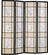 Coaster Home Furnishings Coaster Oriental Floral Accented 4-Panel Room Screen Divider, Wood Framed