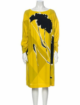 Dries Van Noten Printed Knee-Length Dress w/ Tags Yellow