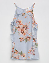 Full Tilt Hi Neck Floral Girls Ruffle Top