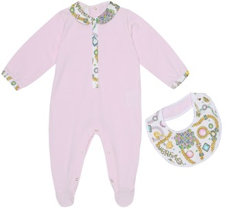 Versace Kids Baby cotton onesie and bib set