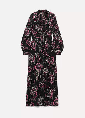 McQ Floral-print Crepe Maxi Dress - Black