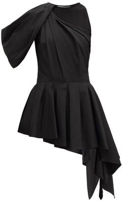 Alexander McQueen Peplum Bodice-overlay Cotton Top - Black