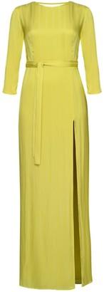 Devina Yellow Green Open Back Maxi Dress