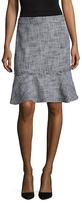 Karl Lagerfeld Tweed Fringed Trim Skirt