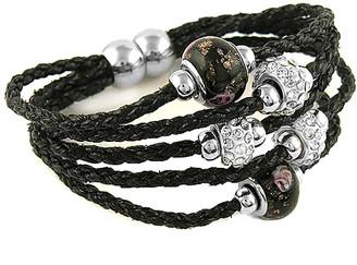 Swarovski Yeidid International Women's Bracelets Black - Black Leather Beaded Bracelet With Crystals