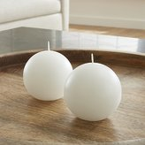Crate & Barrel Set of 2 White Ball Candles