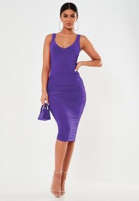 Missguided Purple Slinky Midi Dress