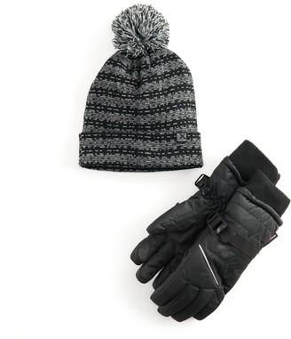 ZeroXposur Boys 8-20 Versatile Cuffing Beanie Hat & Gloves Set