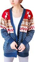 uxcell Woman Long Sleeved Geometric and Deer Pattern Button Down Sweatercoat