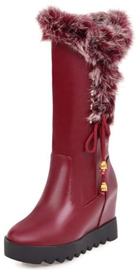 2b207779ec571 IDIFU Women's Warm String Platform High Wedge Heels Hidden Inside Faux Fur  Mid Calf Snow Boots (, 8 B(M) US)