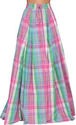 Ralph Lauren Collection Checked Cotton Poplin Madra Maxi Skirt
