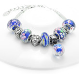 Swarovski Golden Moon Women's Bracelets Blue - Blue Floral Ball Charm & Bead Bracelet With Crystals