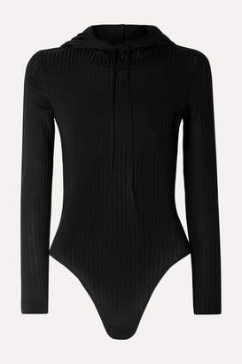 Fleur Du Mal Hooded Ribbed-knit Bodysuit - Black