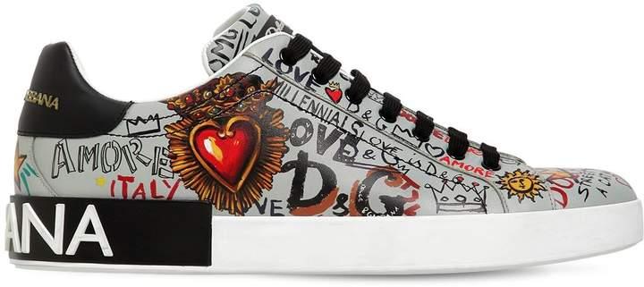 Dolce & Gabbana Portofino Printed Leather Sneakers