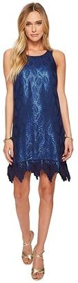 Lilly Pulitzer Marquette Shift Dress (True Navy Silk Leaf Jacquard) Women's Dress