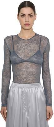 Nina Ricci Lace Stretch Sheer Bodysuit