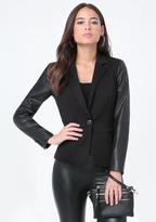 Bebe Faux Leather Sleeve Blazer