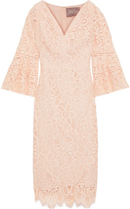 Lela Rose Fluted Corded Lace Dress