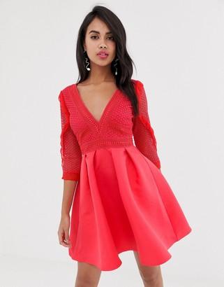 Little Mistress lace sleeve v neck skater dress